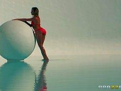 Round assed beauty Mia Malkova in red bikini