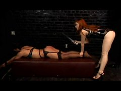 Group ffm fetish sex in latex gloves and lingerie