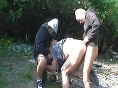 Pissing Granny Gets Raped By Two...