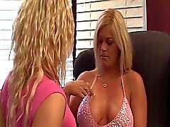 Blonde lesbians kiss and undress each other