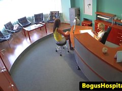 Lesbian nurse licked out by euro babe