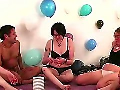 Lesbian kissing for naked amateurs in party game
