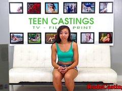 Roughfucked ebony enjoys it hard at casting