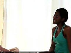 Ebony lesbian licking white pussy