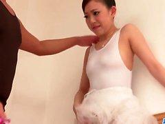 Miu Kimura stands for cock in superb ballerina porn show