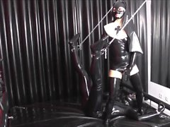 Latex Nun facesitting and foot teasing