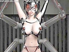 Für Anime sex slave bei riesigen Titten erwischt den Ball Nippel gekniffen