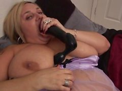 BBW Kendra has fun with a dildo