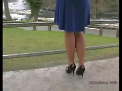 Hot blonde has lovely legs and sexy pair of high heel shoes on
