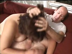 Chunky lady displays her oral talents and then takes a deep pounding