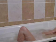 taking a bath, shaved pussy and her husband filmed