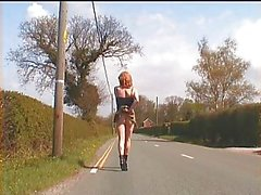 Zoe transvestite slut exhibitionist whore in micro-skirt that can't hide her pretty cock