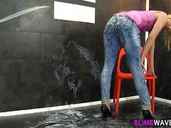 Slimed slut toys pussy