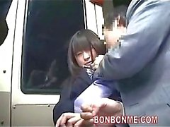 Jap schoolgirl blowjob on a bus