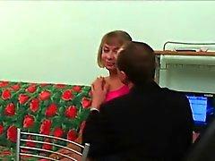 Hottie gives old teacher blowjob till she gets cumshot