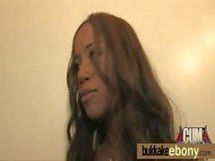 Sexy ebony babe goes crazy sucking and riding several white dicks 11