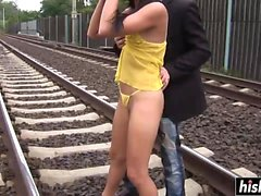 Hot teen gets fucked on the rails