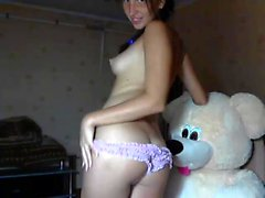 Gorgeous brunette squirting on panties on webcam
