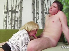 Young Boy seduce Step-Mom Masturbation and helps with Fuck