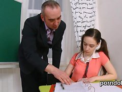 Fervent college girl is seduced and nailed by her aged tutor