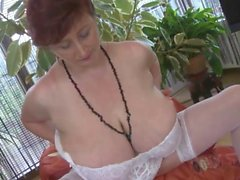 Fat mature with huge juggs strips and maturba