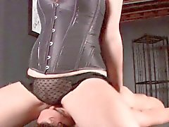 young boy gets cbt from facesitting mistress