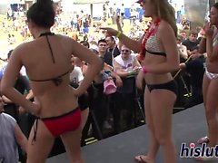 Saucy babes dance on the stage