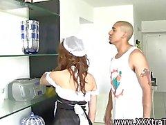Sexy cute teen maid in uniform