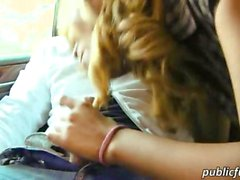 Sultry Spanish girl flashes and plowed in a public location