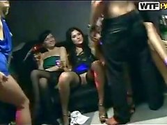Nasty teen babes in student sex party group action