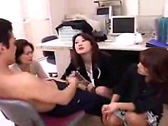 Lucky boy has a group of sexy Oriental ladies fulfilling hi