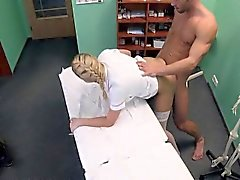 Blonde nurse got cumshot on her ass