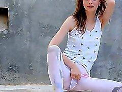 charming peening of super skinny girl