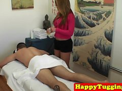 Curvy asian masseuse tugs during sexmassage