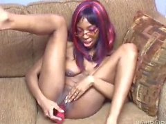 black sista with glasses plays with her pussy.....love her tittie
