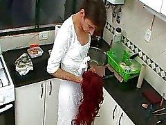 Crossdresser Alejandro wanks in kitchen
