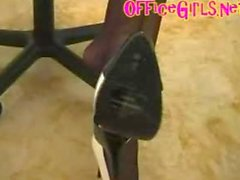 Secretary In Pantyhose And Miniskirt Gives Leg Tease And Stiletto
