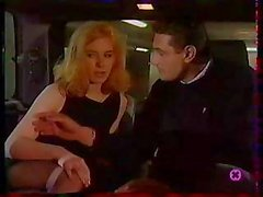 Blonde babe in a taxi takes on two cocks and sucks and fucks