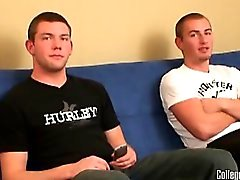 Two hot college dudes watching a porn together, stroking