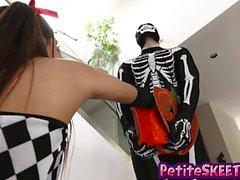 Katya Rodriguez surprised in a trick or treat