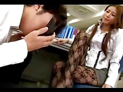 Office Lady In Panthose Getting Her Toes Sucked Giving Footjob While Sitting On The Chair In The Office