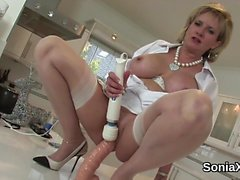 Unfaithful english milf lady sonia exposes her massive boobs