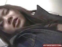 slim japanese whore in short skirt give BJ