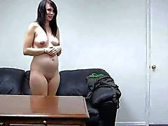 Pregnant amateur Teen gets naked and sucks cock at interview