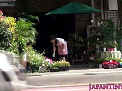 Petite Japanese flower shop girl hairy pussy banged