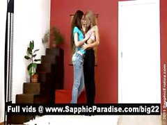 Anya and Marya brunette and blonde lesbos kissing and undressing and having lesbo sex