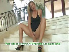Pamela superb blonde teenage toying pussy with a huge dildo on the stairs