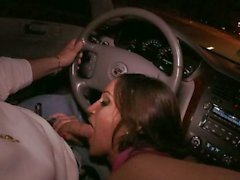 Lusty Latina Lynn Love sucks cock in a car