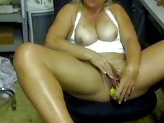 sluT fucks a cucumber and a banana JILLING OFF