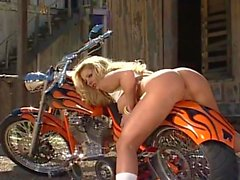 Sexy Blonde Biker having fun pt2